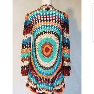 Anthropologie Crochet Colorful Sweater Medium